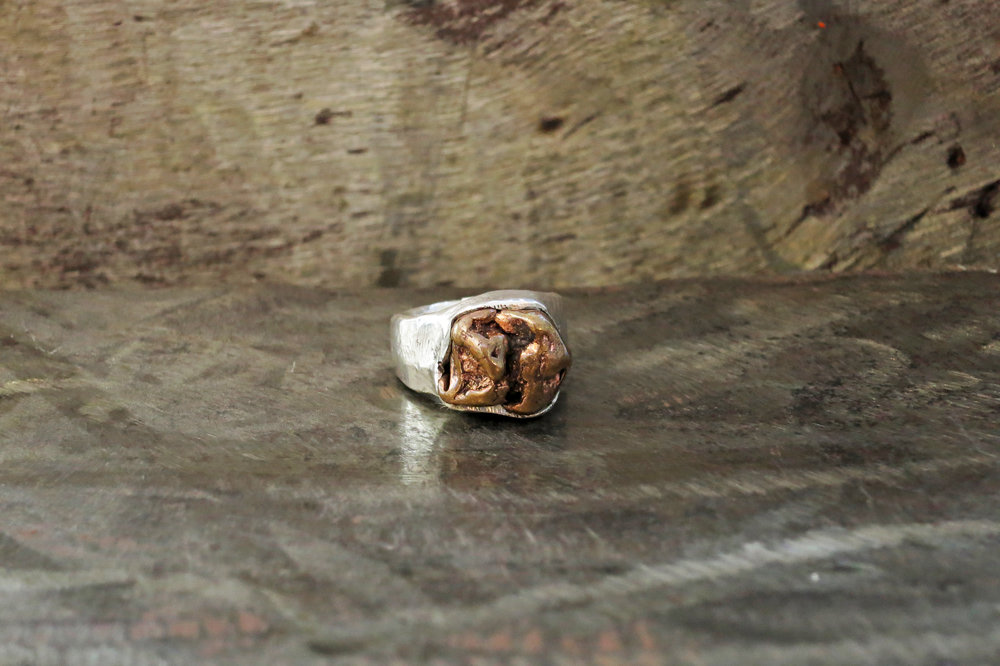 Copper nugget & silver ring