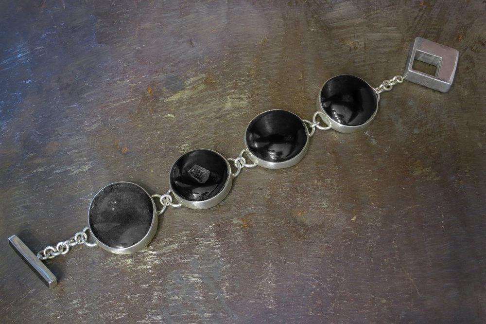 Obsidian, druzy & onyx bracelet