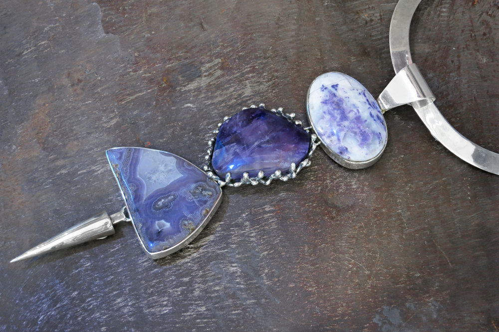 agate pendant, amethyst & sterling silver enhancers