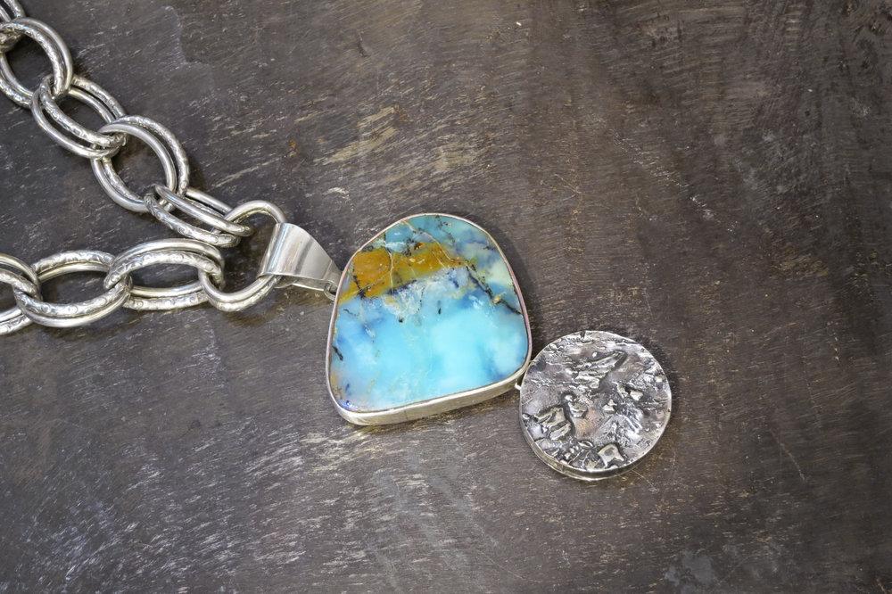 peruvian opal  pendant & sterling silver enhancer