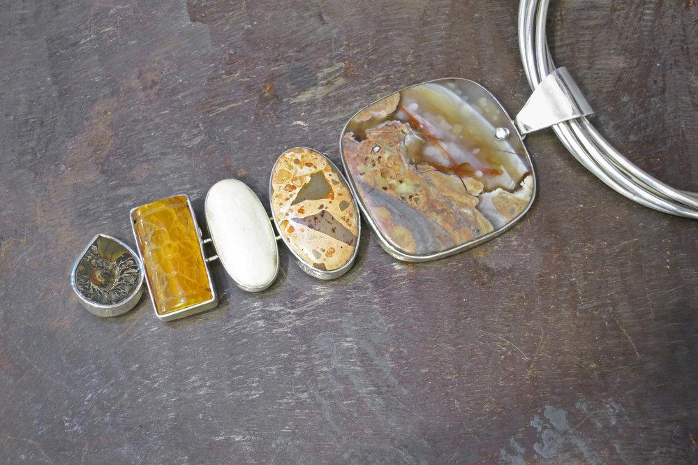 agate pendant, jasper, bone, amber & ammonite