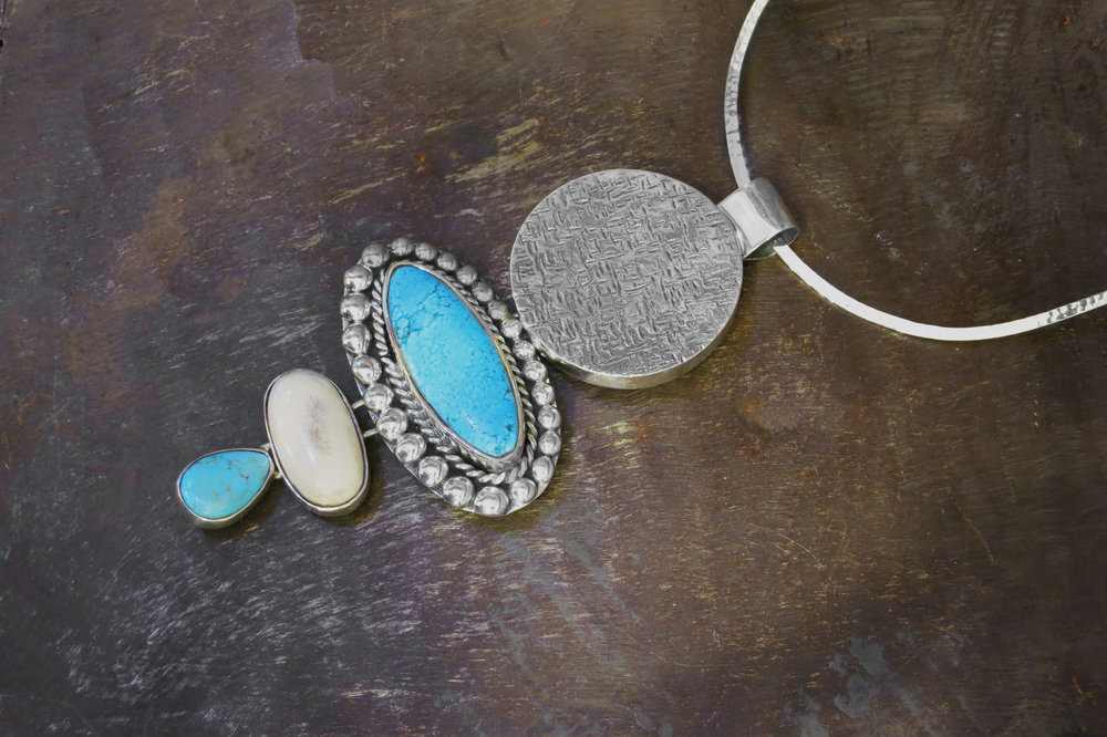 sterling silver pendant, turquoise, bone & turquoise enhancers