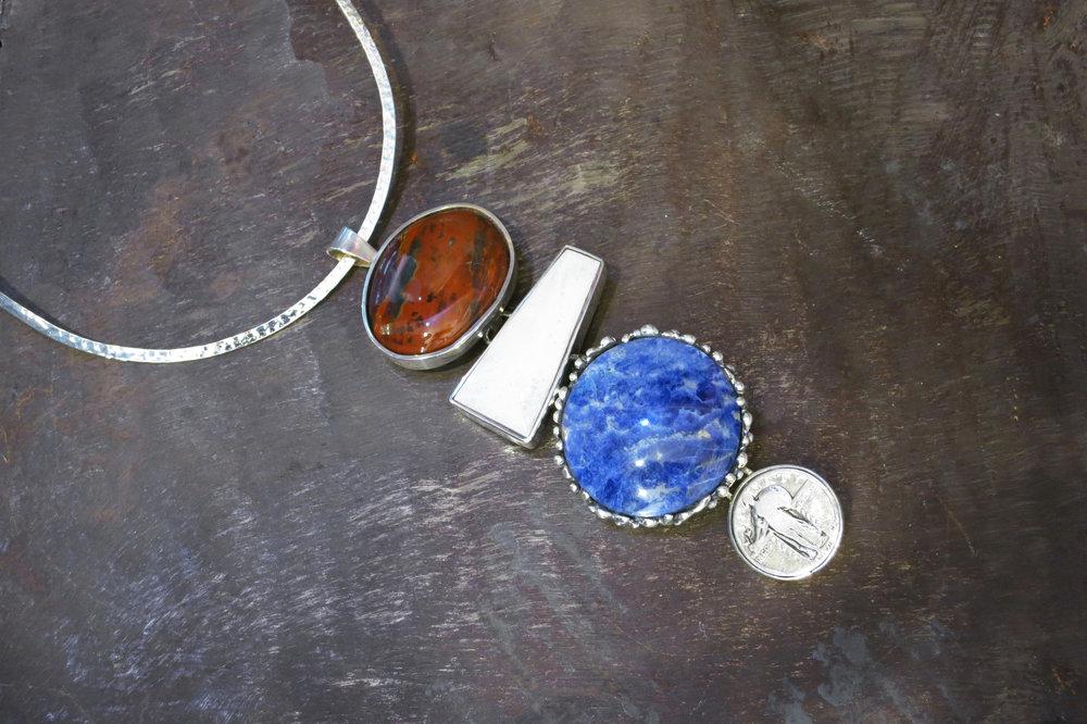 mahogany obsidian pendant, bone, sodalite & silver coin enhancers
