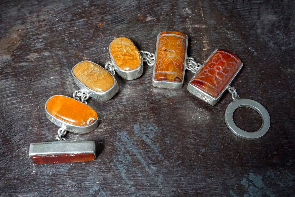 carved orange agate bracelet