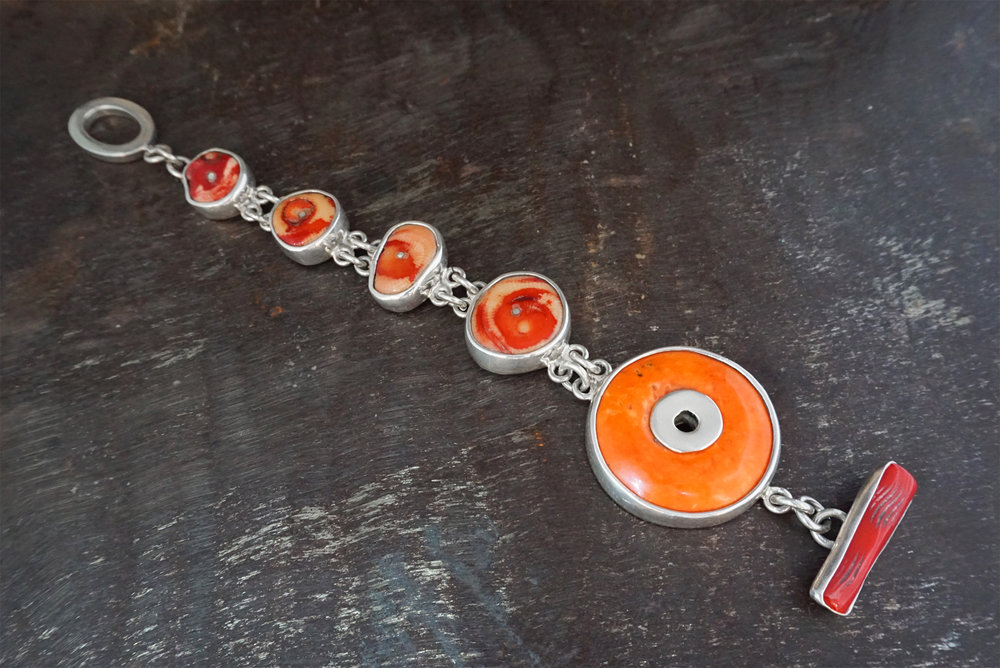 red & orange coral bracelet