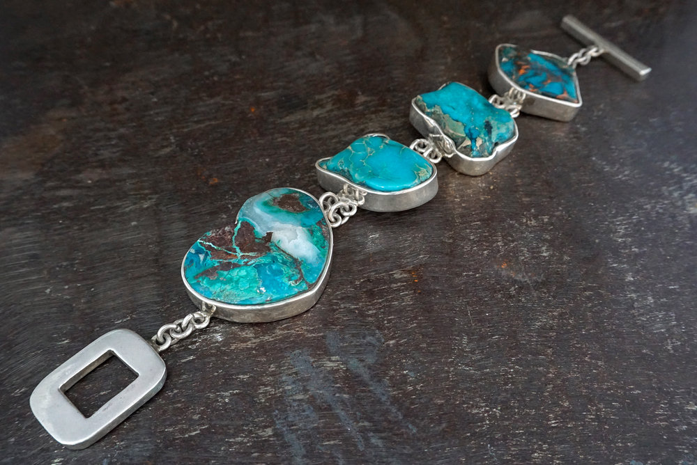 chrysocolla & blue sea sediment jasper bracelet