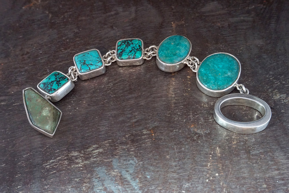 zacatecas turquoise, blue howlite & amazonite bracelet