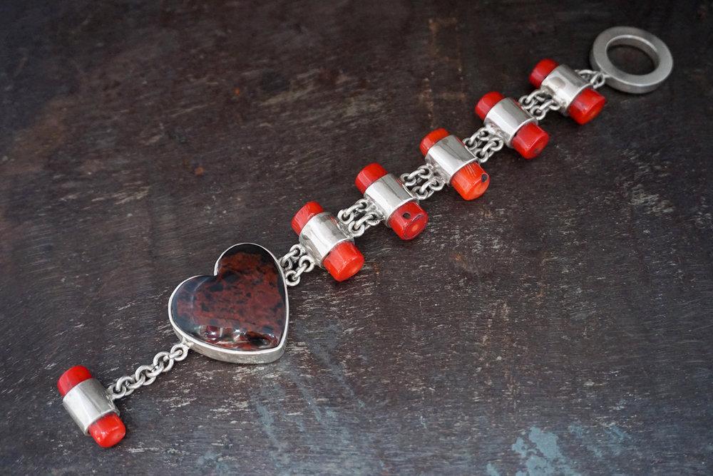 red coral & mahogany obsidian bracelet