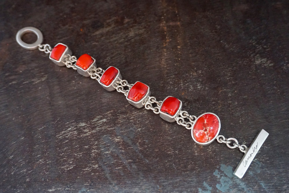 red coral & orange sea sediment jasper bracelet