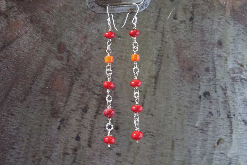 red & orange coral earrings
