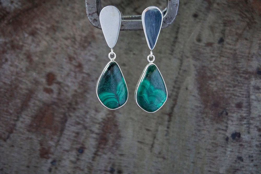malachite post earrings