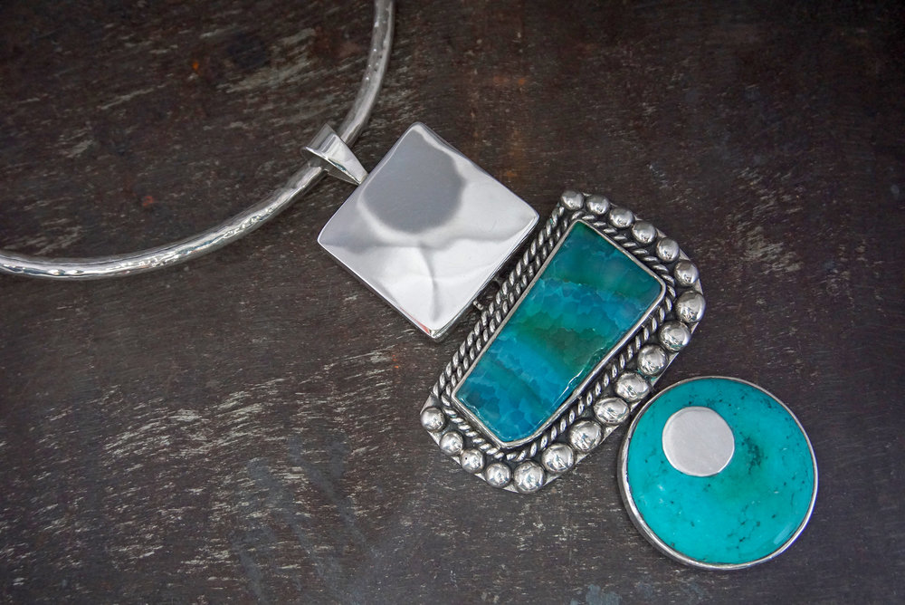 silver pendant, agate & turquoise enhancers