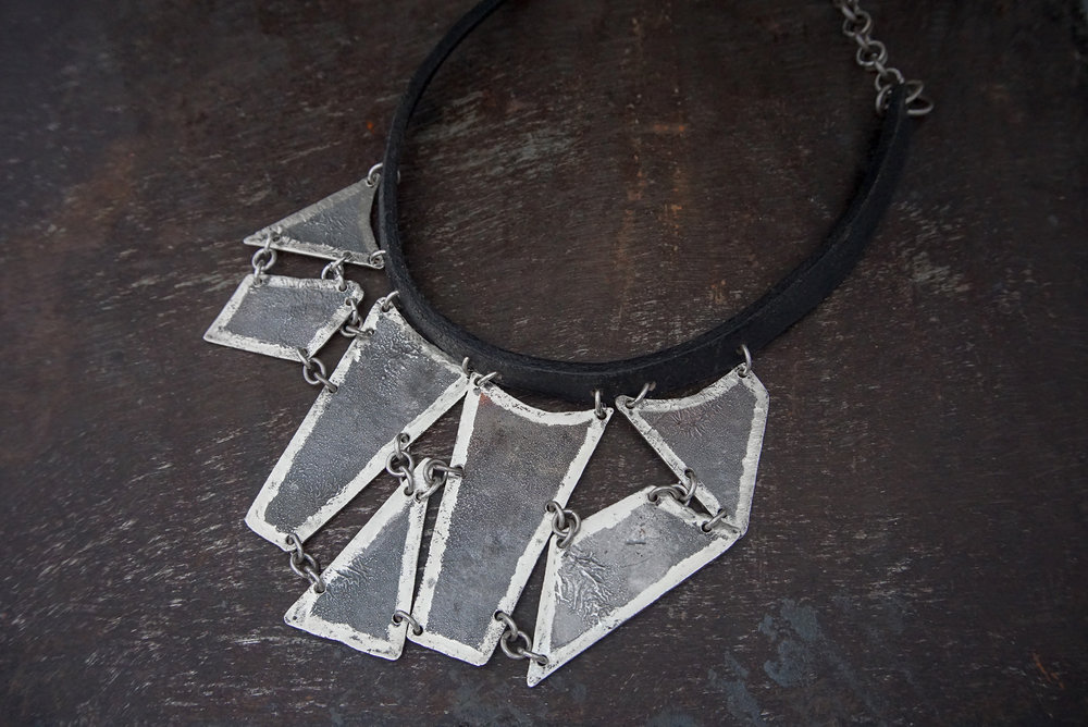 silver & leather necklace