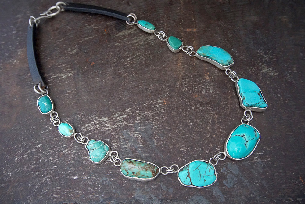 turquoise & leather necklace