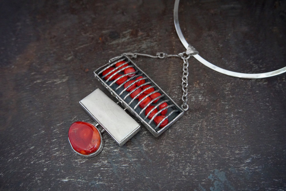 red coral pendant, bone & red coral enhancers