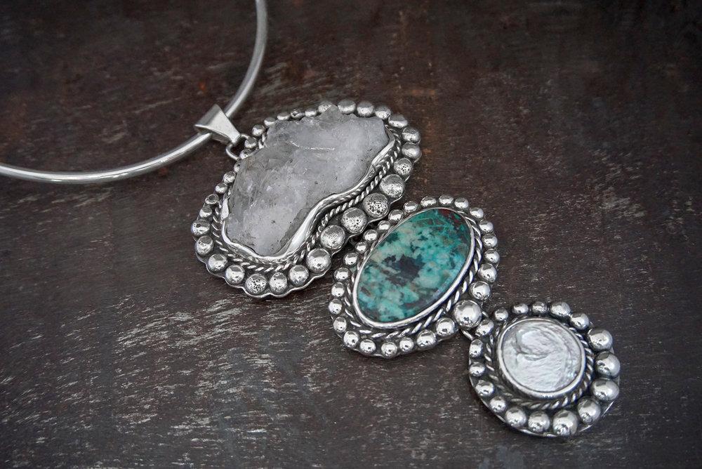 quartz, turquoise & coin pearl enhancers