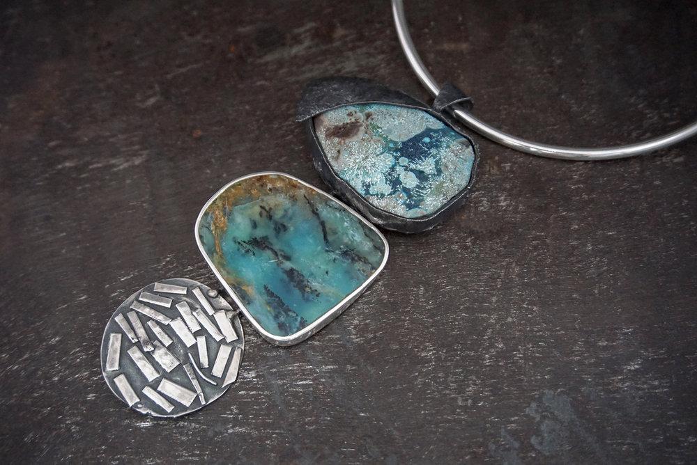 jasper pendant, peruvian opal & silver enhancers