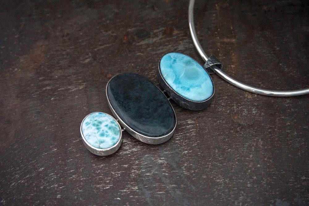 larimar pendant, huichol obsidian & larimar enhancers