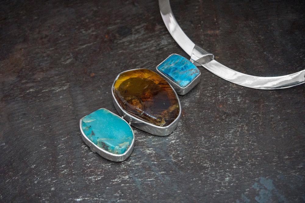 apatite pendant, chiapas amber & sea sediment jasper enhancers