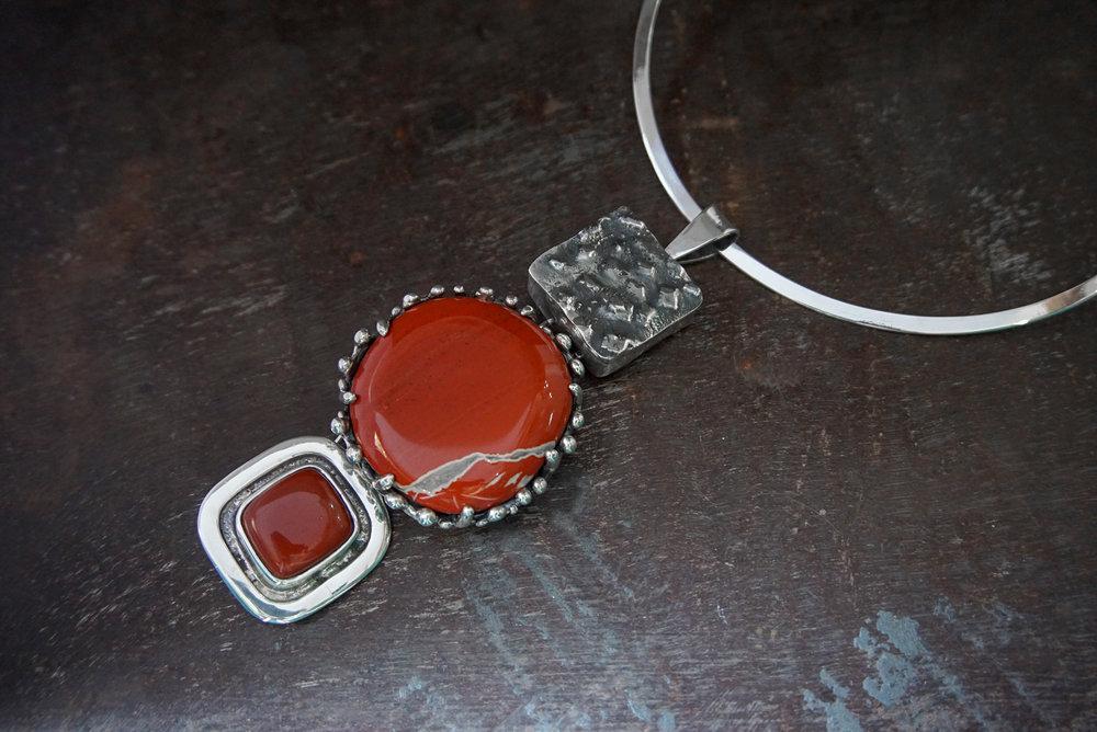 silver pendant, white lace red jasper & carnelian enhancers