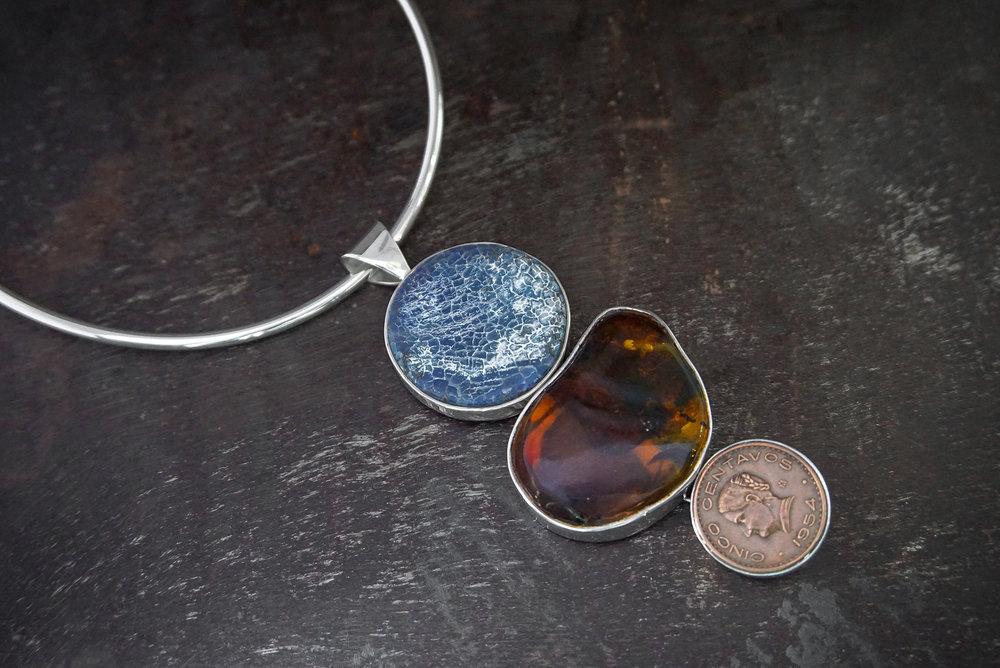 lava stone pendant, Chiapas amber & copper coin enhancers