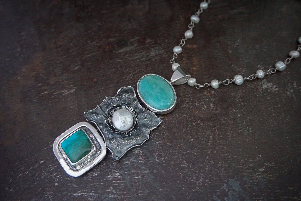amazonite pendant, coin pearl & chrysocolla enhancers on pearl necklace