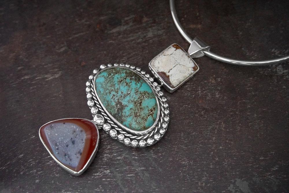 jasper pendant, turquoise & druzy enhancer