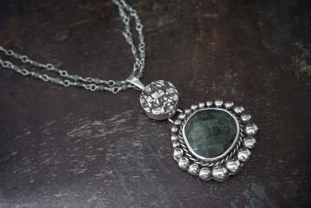 silver pendant, labradorite enhancer & necklace