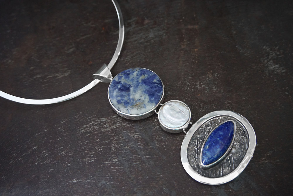 sodalite pendant, coin pearl & lapis lazuli enhancers
