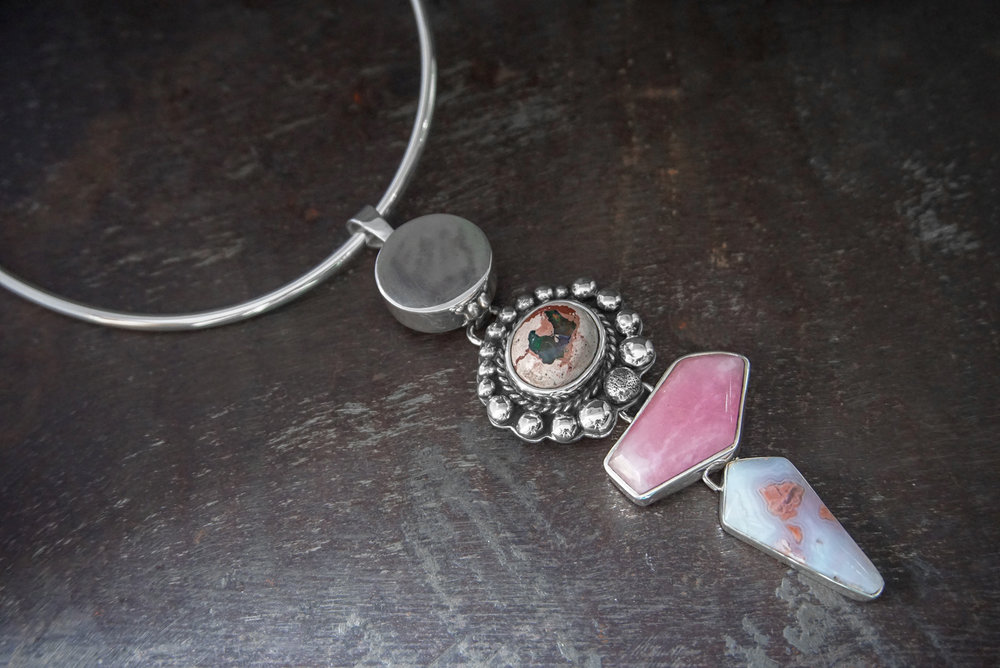 silver pendant, fire opal in cantera, pink quartz & crazy lace agate enhancers