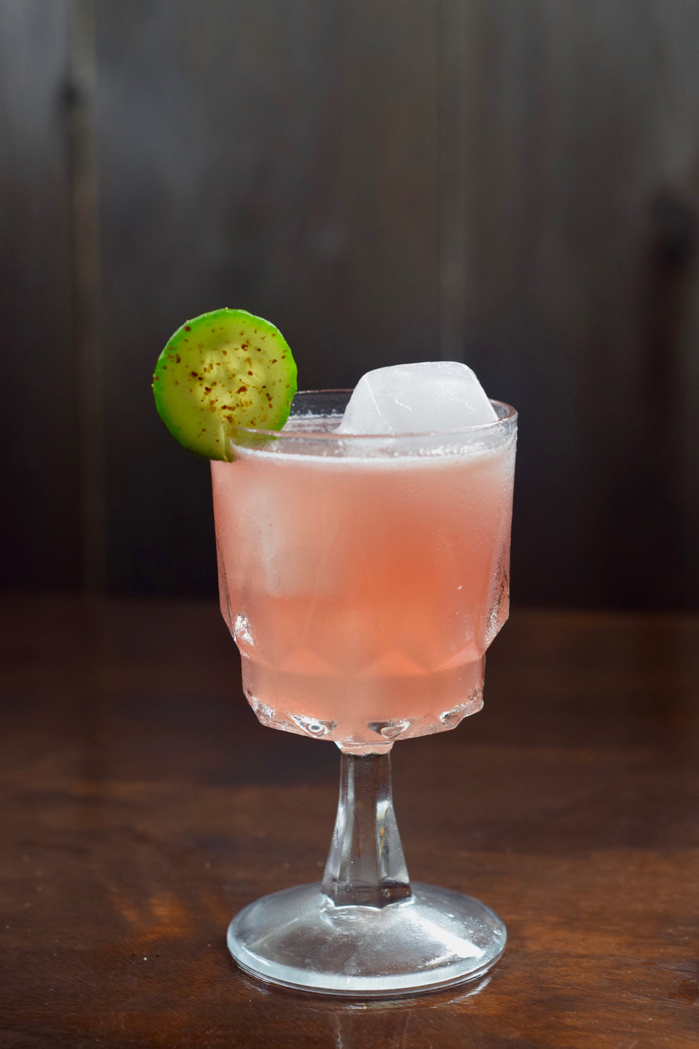 HOT FLASH - 1.5 oz gin1/2 oz st. germain elderflower liqueur3/4 oz nostrum strawberry hibiscus jalapeno shrub3/4 oz fresh lemon juice4 cucumber slicesdirections: muddle, shake with ice, double strain.