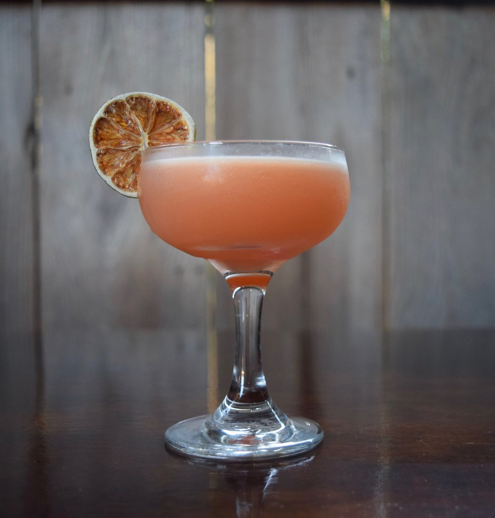 CABANA BOY - 1.5 oz gin1/4 oz campari1/2 oz nostrum pineapple turmeric ginger shrub3/4 oz fresh lime juice1/4 oz orgeatdirections: shake with ice and strain.