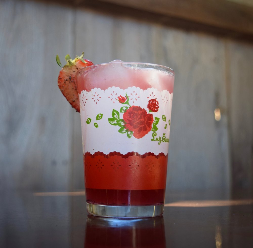 NO SOY FRESA - 2 oz mezcal1/2 oz nostrum strawberry hibiscus jalapeno shrub3/4 oz fresh lime juice1/2 oz cinnamon syrupShake with ice and strain.