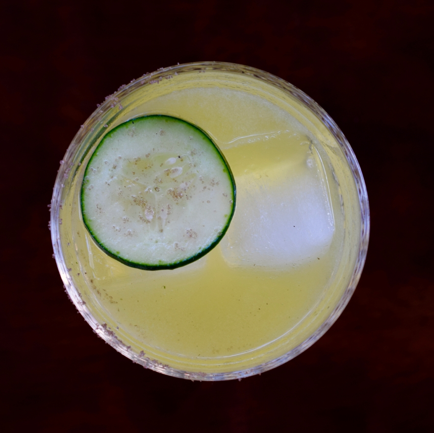 PACHAMAMA - 1.5 oz mezcal1/2 oz green chartreuse1/2 oz nostrum pineapple turmeric ginger shrub3/4 oz fresh lime juice3-4 cucumber slicesMuddle cucumber in a cocktail shaker. Add other ingredients, shake with ice and double strain.
