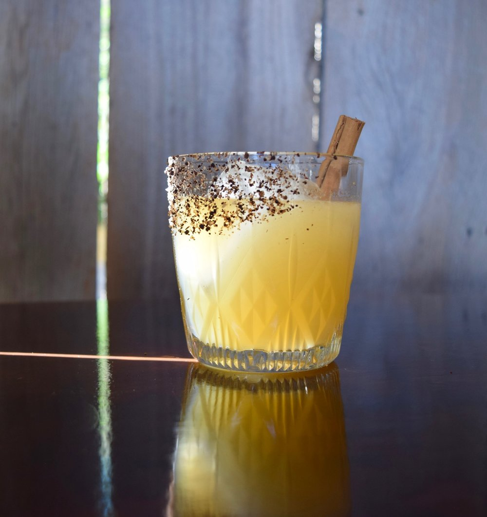 CALAVERA - 1.5 oz mezcal1/4 oz strega liqueur1/2 oz nostrum grapefruit piloncillo chipotle shrub1 oz pineapple juice1/2 oz fresh lime juice1/4 oz cinnamon syrupsal de chapulin, for the rimShake with ice and strain.