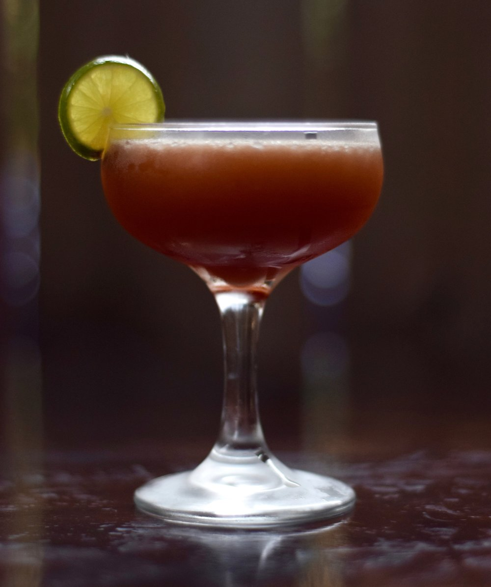 CHERRIOTS OF FIRE - 1.5 oz mezcal1/2 oz cherry heering liqueur1/2 oz nostrum grapefruit piloncillo chipotle shrub3/4 oz fresh lime juice1/4 oz ginger syrupShake with ice and strain.