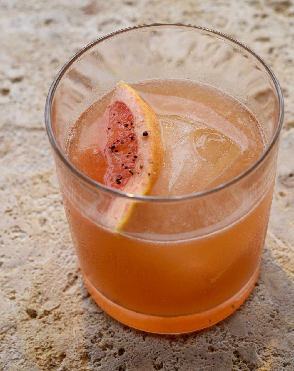 BEAR HUG - 2 oz bourbon1/2 oz nostrum grapefruit piloncillo chipotle shrub1/2 oz fresh lemon juice1/2 oz honey syrup2 dashes angostura bittersShake with ice and strain.