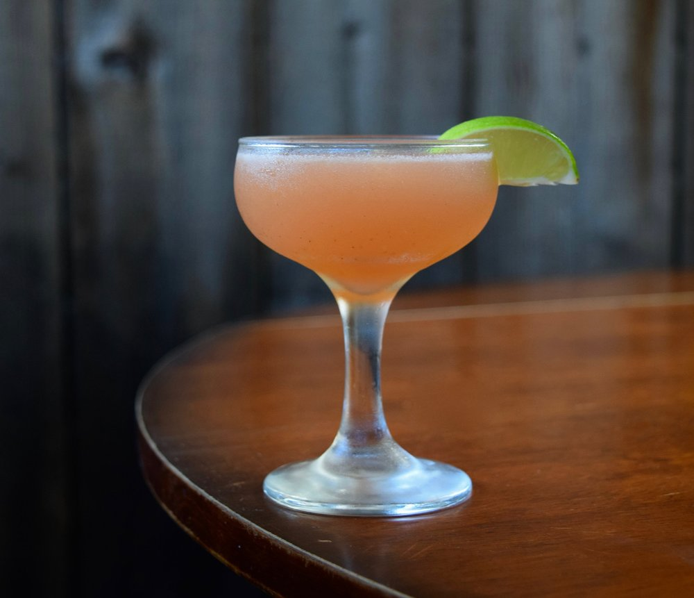 HUSK DADDY - 2 oz white rum1/2 oz nostrum strawberry cascara ginger shrub3/4 oz fresh lime juice1/4 oz simple syrupShake with ice and strain.