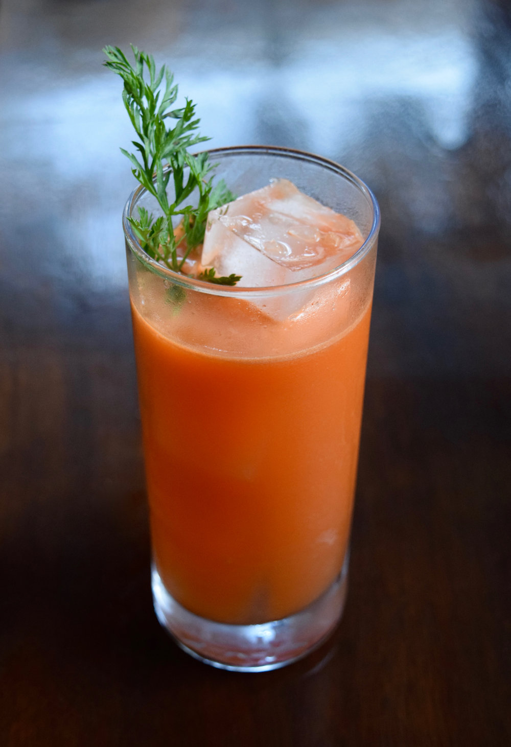SUPER RABBIT - 1 oz vodka1 oz aquavit1 oz fresh carrot juice3/4 oz fresh lemon juice1/2 oz nostrum pineapple turmeric ginger shrub1/4 oz honey syrupShake with ice and strain.