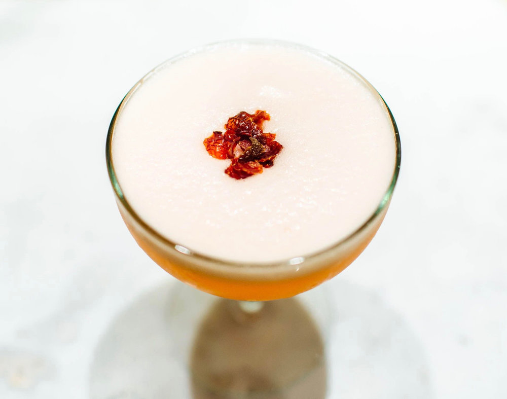 ROSE THORN - 2 oz bourbon1/2 oz nostrum strawberry cascara ginger shrub3/4 oz fresh lemon juice1/4 oz demerara syrup1 egg white1/2 tsp rose water (optional)Add ingredients to a cocktail shaker. Dry shake (without ice) then add ice and shake again. Double strain.