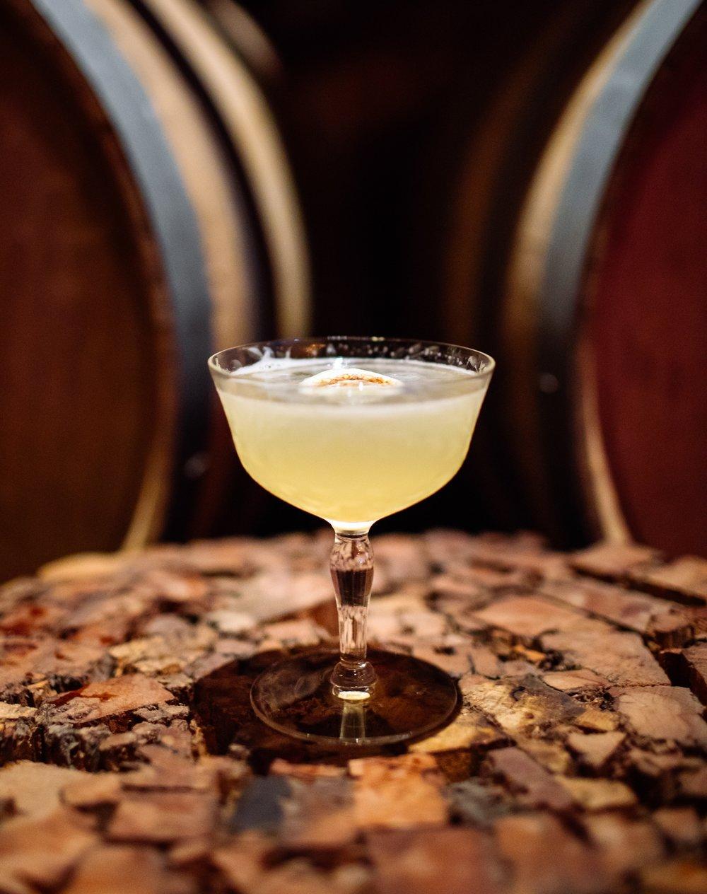 DHARMA BUM - 2 oz white rum (or rhum agricole)1/2 oz nostrum kumquat kaffir lime lemongrass shrub3/4 oz fresh lime juice1/4 oz simple syrupShake with ice and strain.