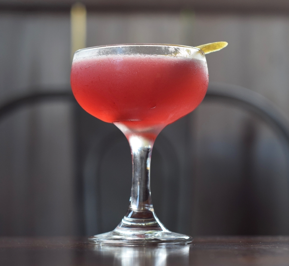 MIDNIGHT BRAMBLER - 1.5 oz gin1/2 oz green chartreuse1/2 oz nostrum blackberry cacao nib sage shrub3/4 oz lemon juice1 barspoon demerara syrupdirections: shake with ice and strain.