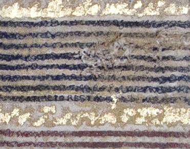 Linen, stitching, paint, metal leaf