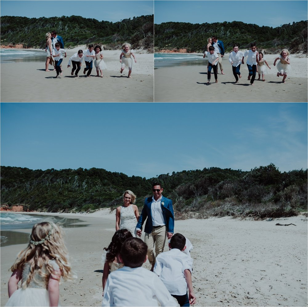 kids in bridal party beach wedding portraits