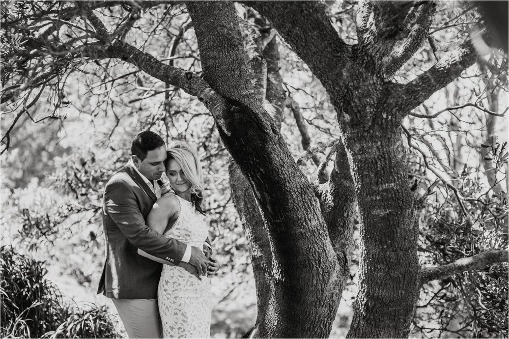 Byron Bay black & white bridal portrait