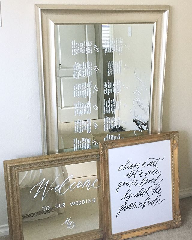 Mirror mirror on the wall✨ One of my favorite ways to incorporate signage and help guests find their seats!