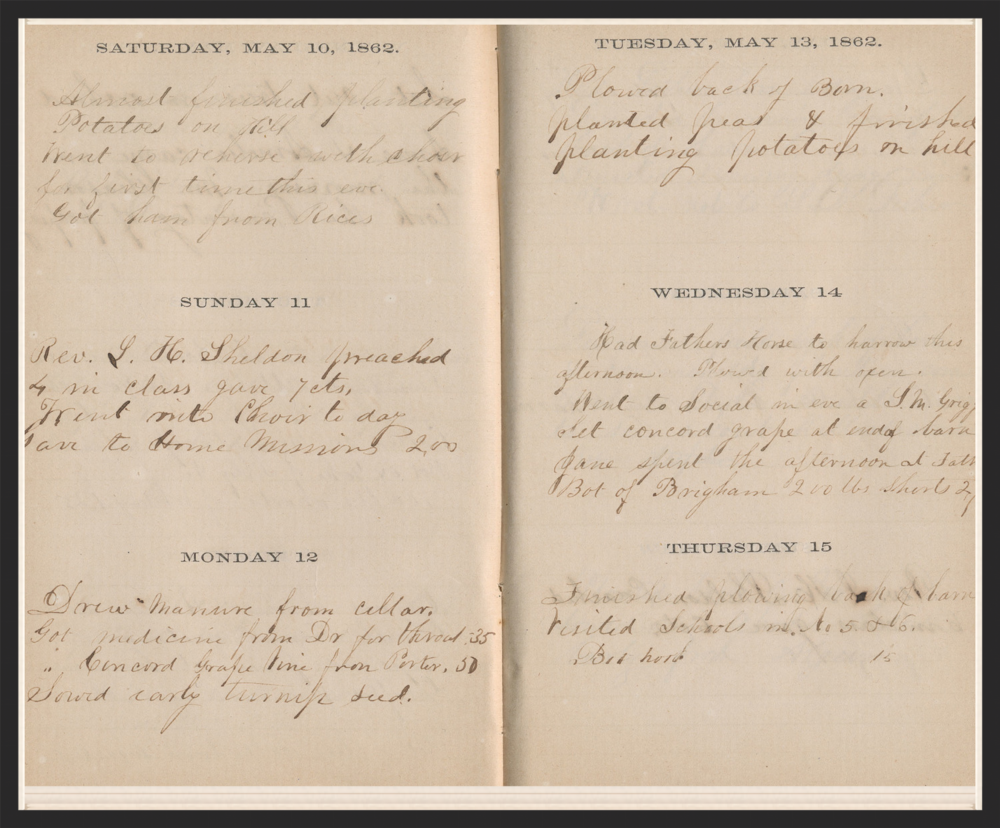 A Page from Benjamin Nourse's Journal - 1882