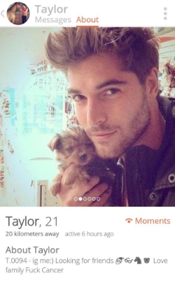 Random hot guy on tinder with a cute dog.