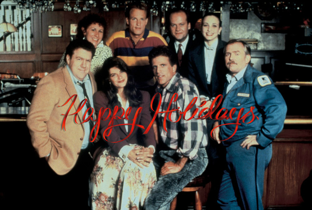 (row 1 L to R: Norm peterson, rebecca HOWE, SAm malone, cliff claven) (ROW 2 L to R: Carla tortelli, woody boyd, frasier crane, lilith crane)