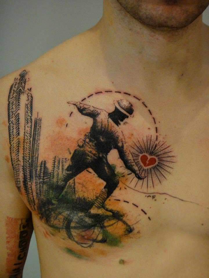 A-soldier-throws-a-heart-at-city-buildings-in-this-artistic-abstract-tattoo-by-Xoil.jpg